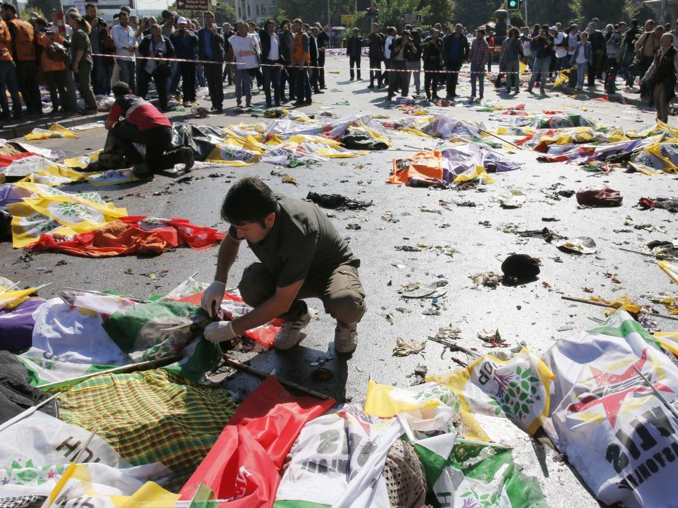 Víctimas del atentado en Ankara.
