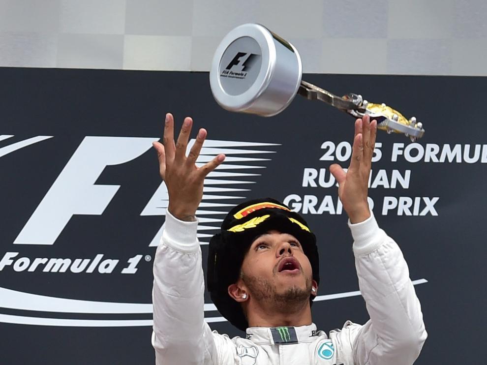 Lewis Hamilton celebra su triunfo de este domingo