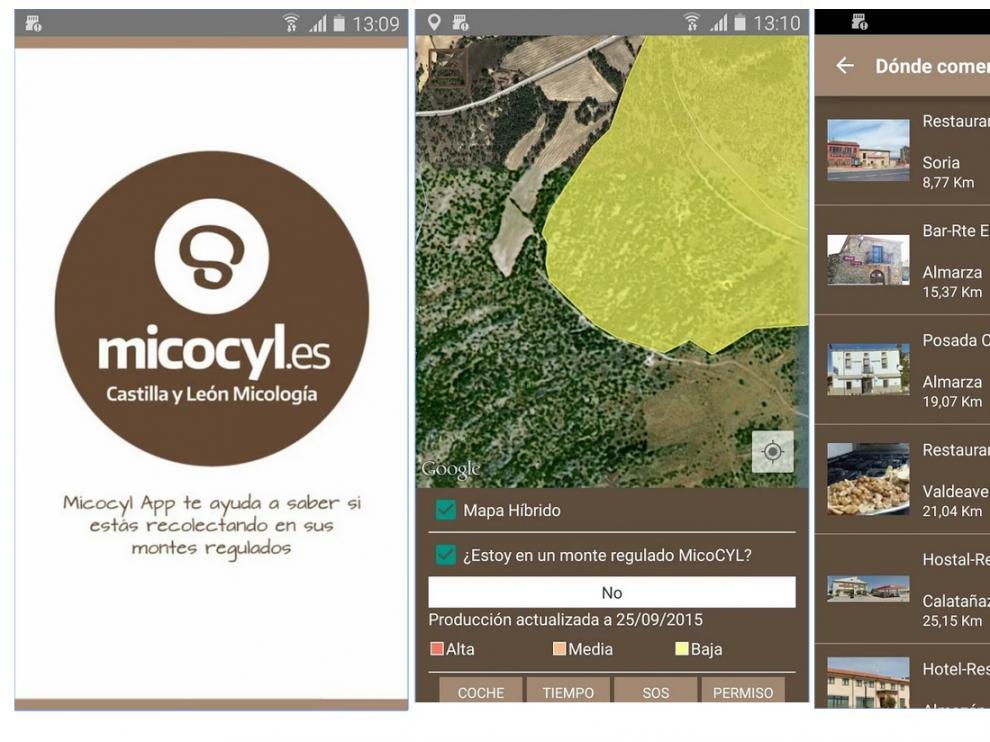 Capturas de pantalla de la aplicación para dispositivos móviles con sistema operativo Android.
