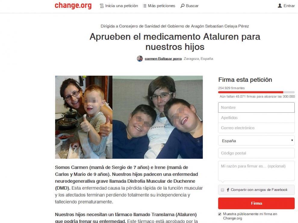Recogida de firmas en Change.org.