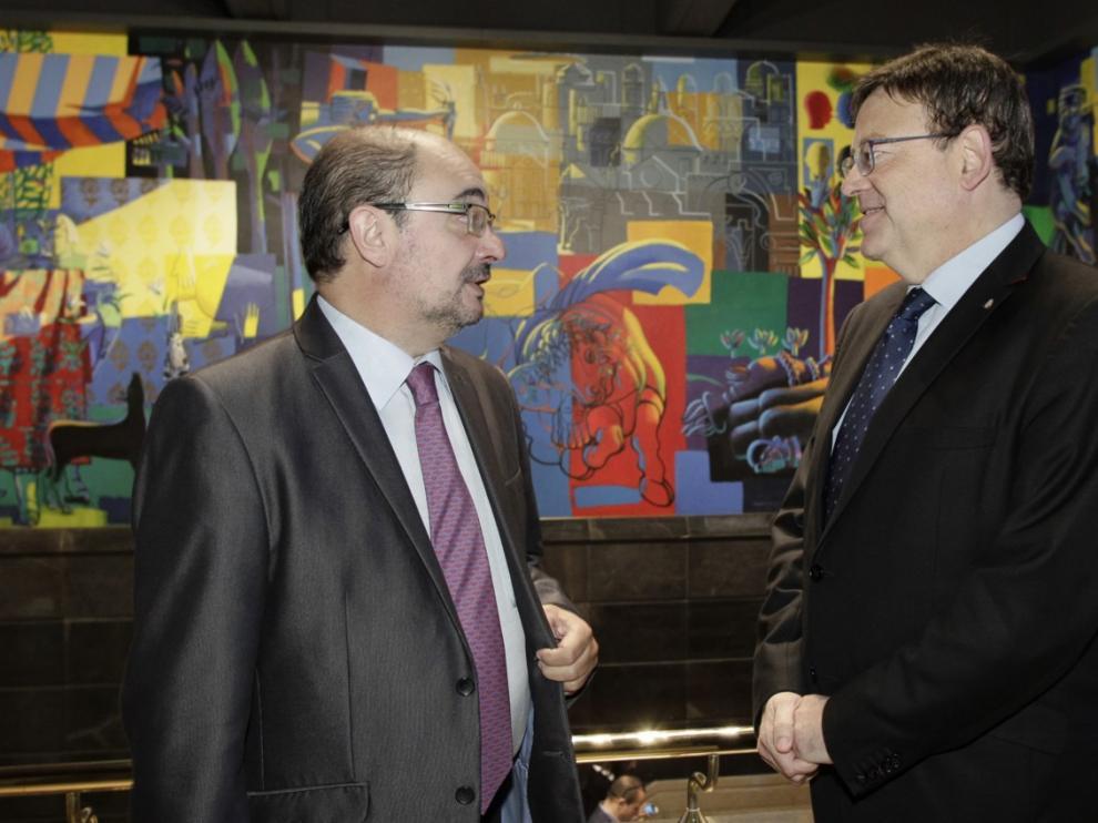 El presidente de Aragón, Javier Lambán, se ha reunido homólogo valenciano