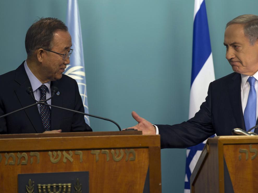 El secretario general de la ONU comparece en una rueda de prensa con el primer ministro israelí.