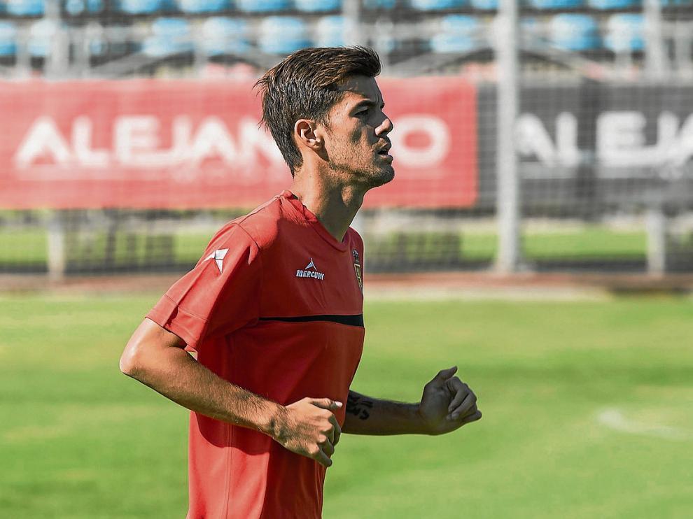 Aria Hasegawa, en un entrenamiento del Real Zaragoza.