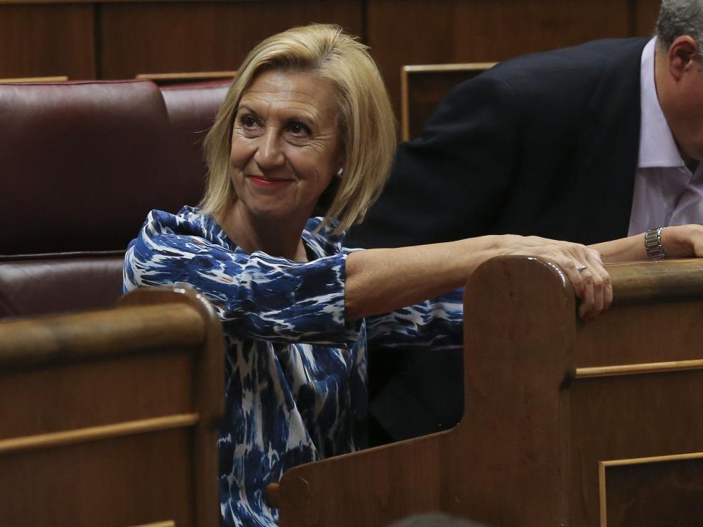 La portavoz de UPyD, Rosa Díez, hoy en el Congreso de los Diputados que celebra su último pleno de la legislatura antes de la disolución de las Cortes el próximo lunes.