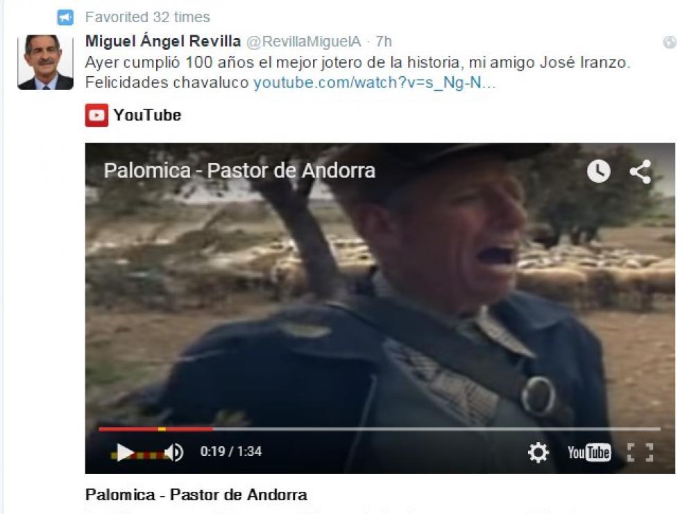 Felicitación de Miguel Ángel Revilla al Pastor de Andorra en Twitter.