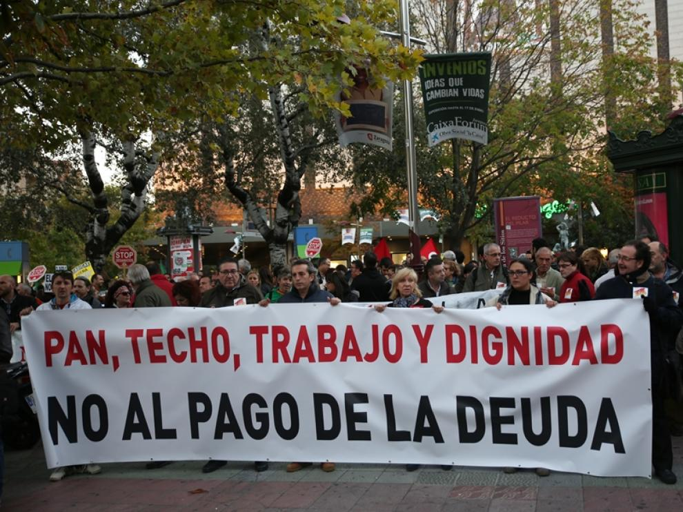 Las Marchas de la Dignidad recorren Zaragoza.