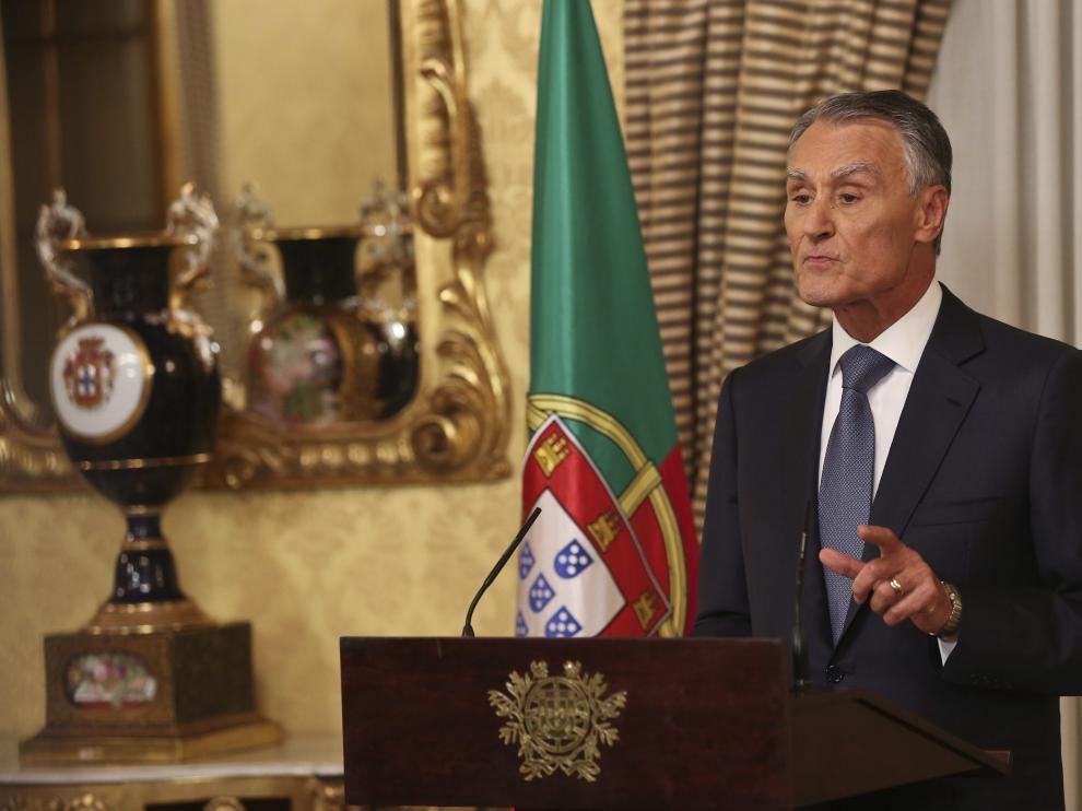 El presidente de Portugal, Aníbal Cavaco Silva, mientras pronuncia un discurso.