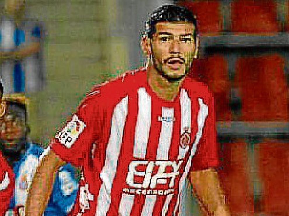 Javi Álamo, con la camiseta del Girona FC.
