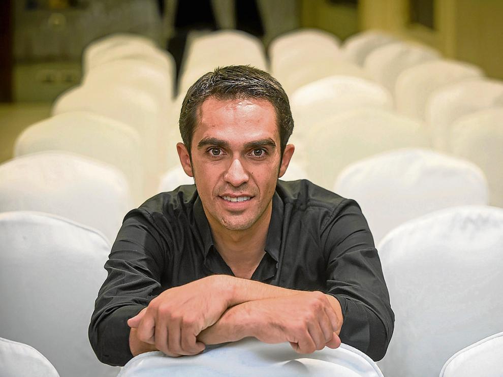 Alberto Contador, en una imagen capturada ayer en la capital aragonesa.