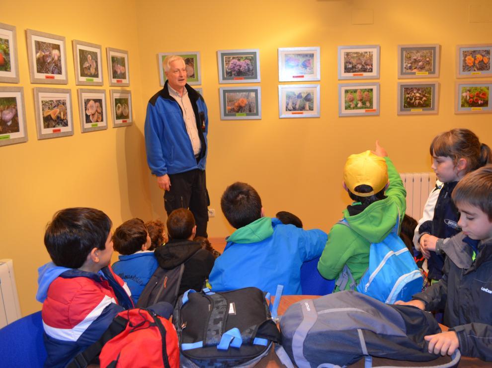 Un grupo de estudiantes zaragozanos atiende las explicaciones del micólogo Javier Cortés.