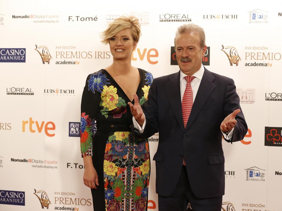 La presentadora de la gala, María Casado, y el presidente de la Academia, Campo Vidal. enrique cidoncha.