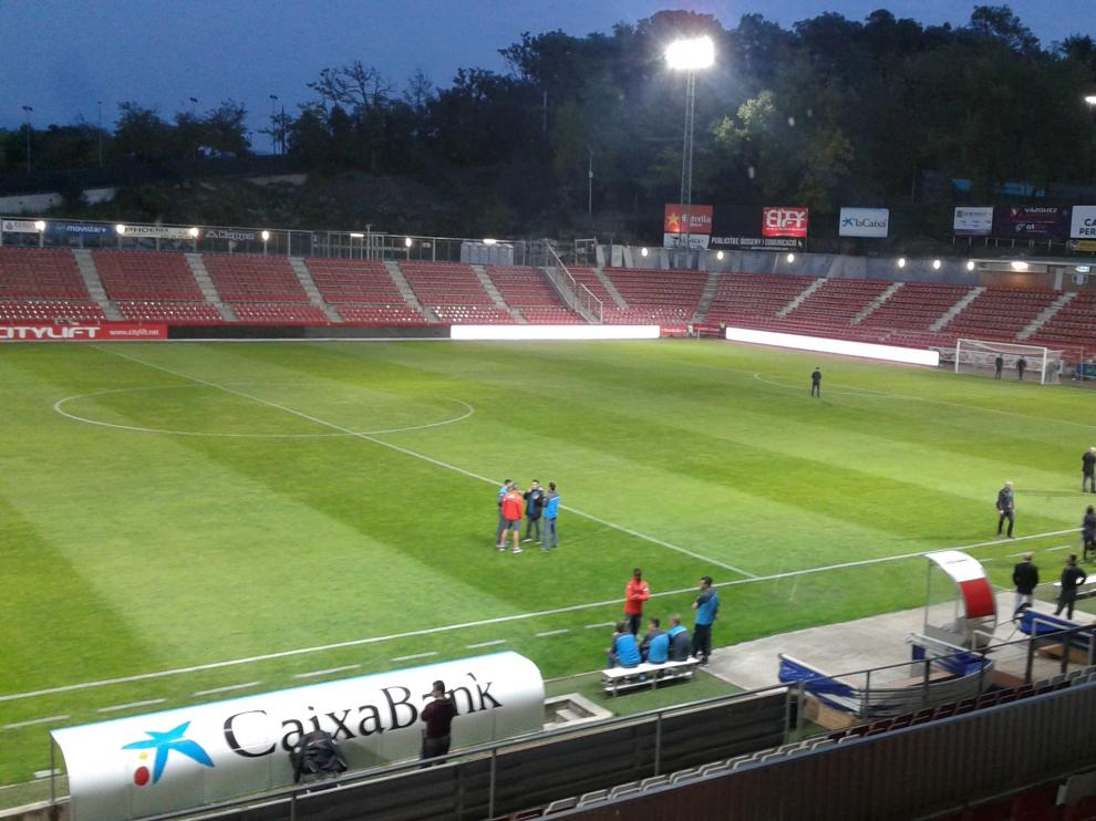 El estadio de Montilivi, preparado para el Girona-Real Zaragoza