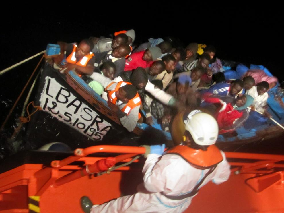 Una de las pateras rescatadas en Gran Canaria