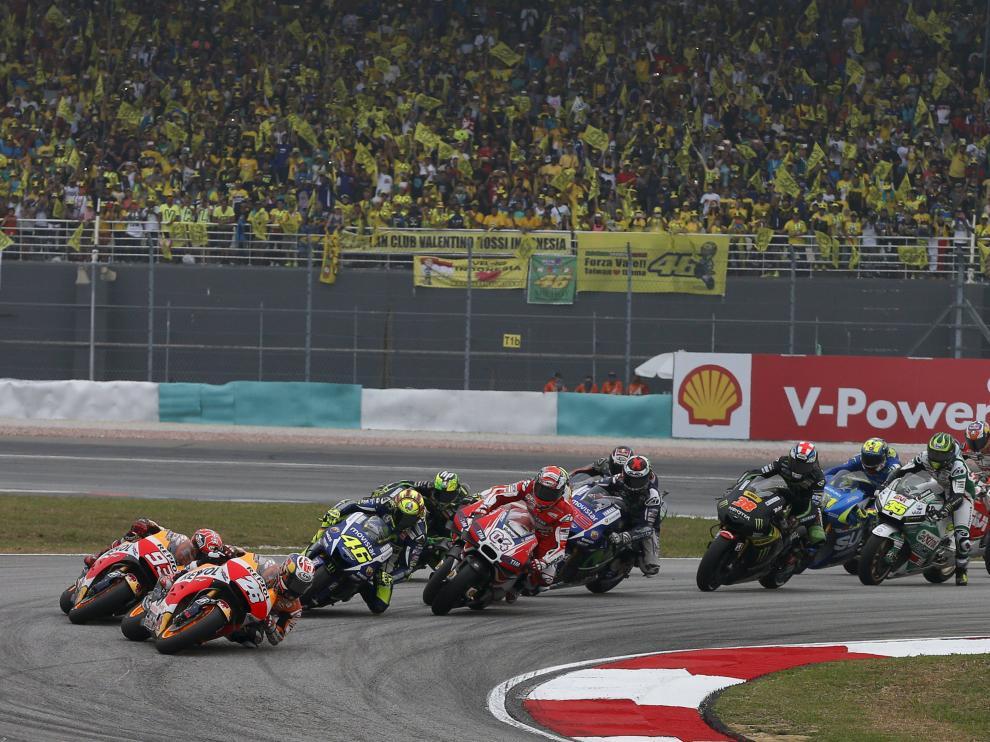 Dani Pedrosa, primero durante la carrera en el Gran Premio de Motociclismo de Malasia, en Sepang.