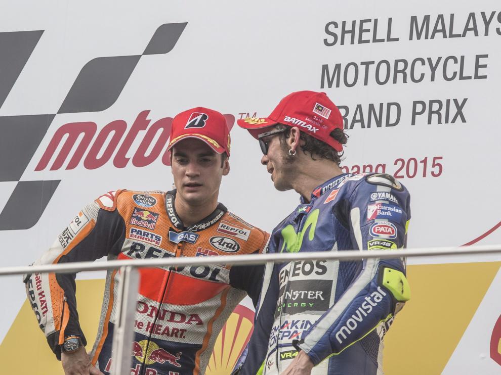 Dani Pedrosa, junto a Valentino Rossi