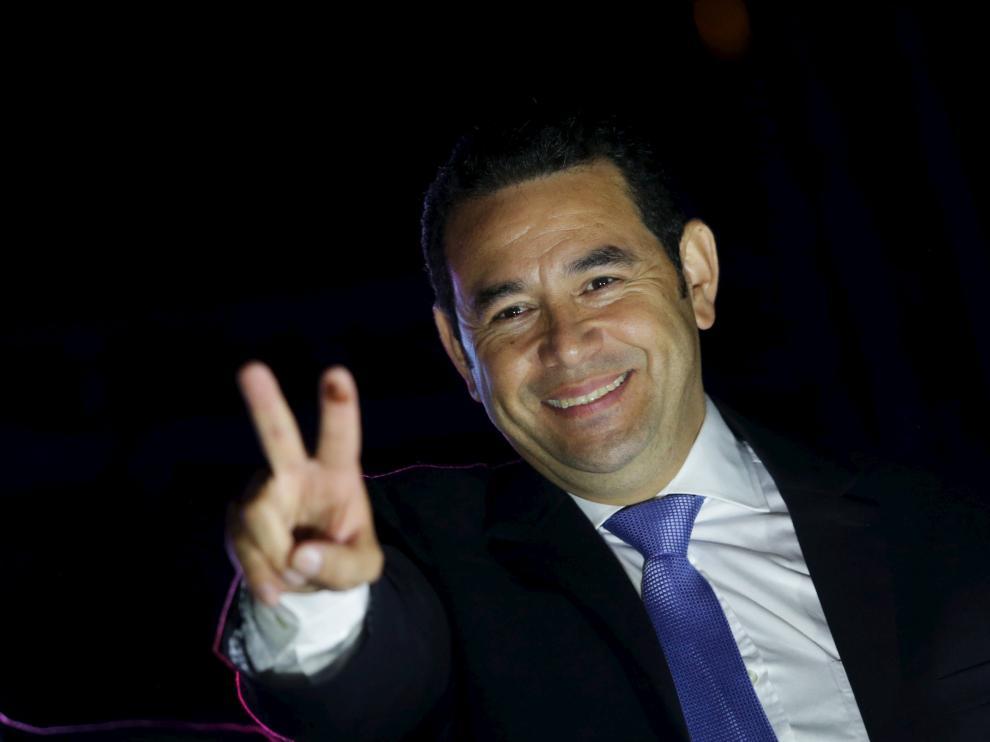 Morales tras proclamarse Presidente de Guatemala.