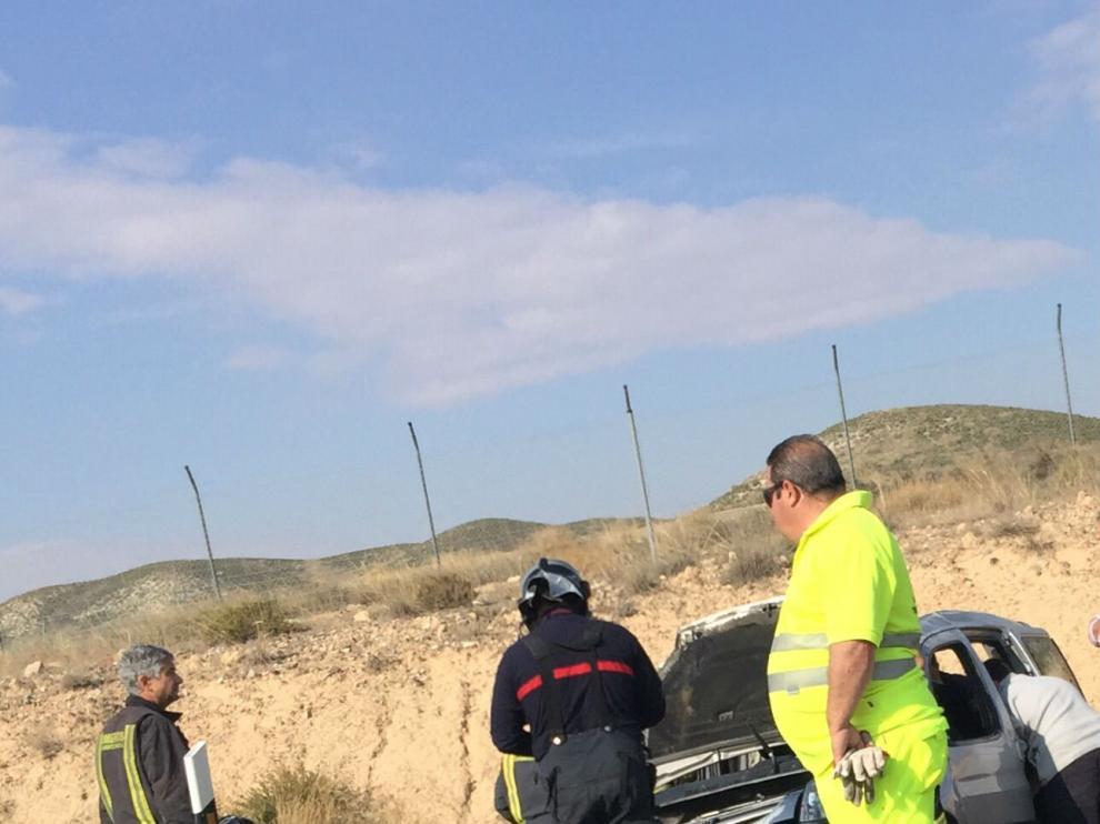 Vehículo accidentado a la altura de Santa Fe