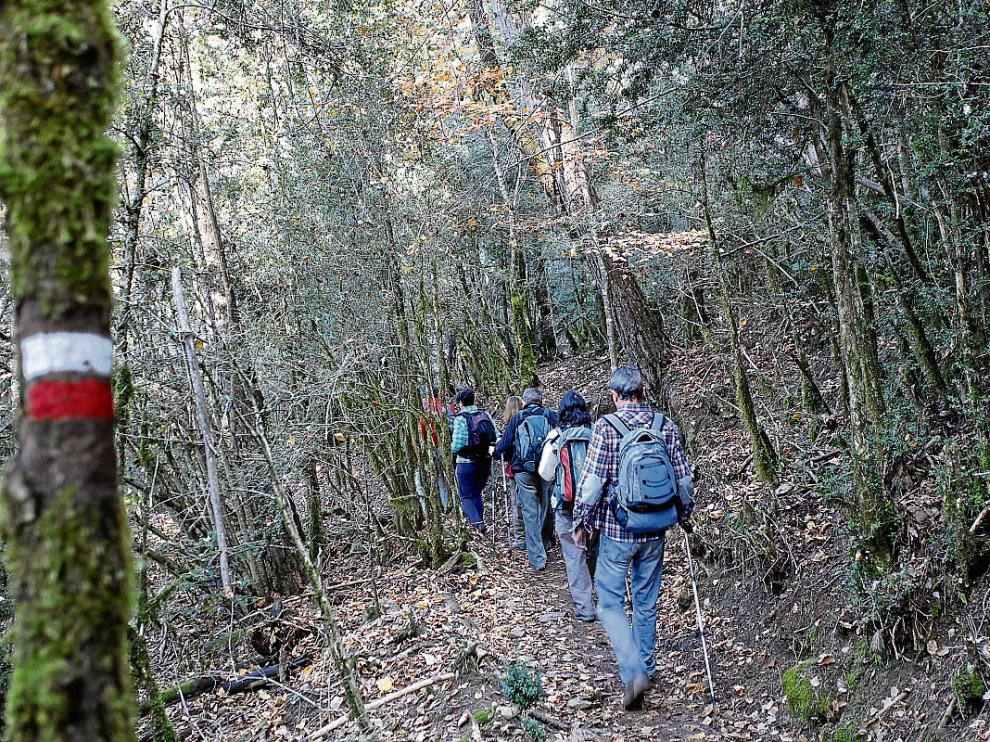 Senderistas por una de las rutas del GR-15 entre Fanlo y Buesa que se recorrieron ayer.