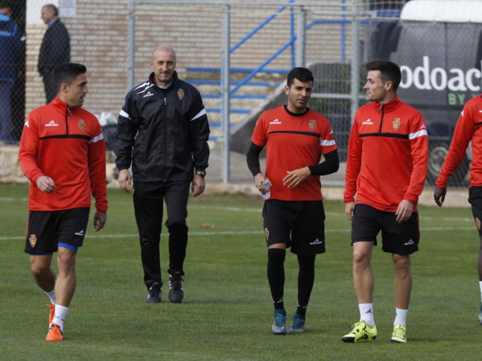 Pedro, Popovic, Ángel, Ortí y Diamanka, en el entrenamiento de este martes