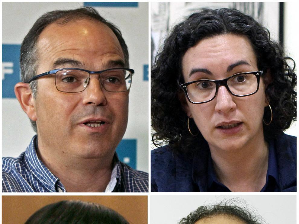 Jordi Turull y Marta Rovira (JxS) y Antonio Baños y Anna Gabriel (CUP)