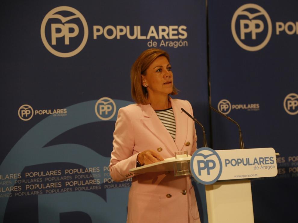 María Dolores Cospedal, este martes en Zaragoza.