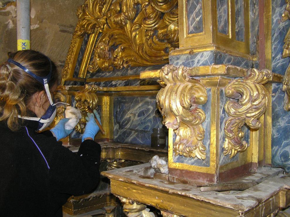 Obras de conservación en la Iglesia de Santa María de Ejea.
