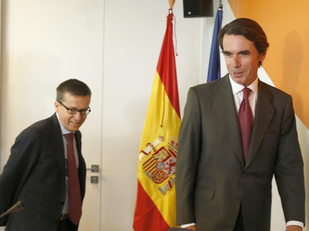 El expresidente del Gobierno José María Aznar durante la presentación del informe de la Fundación FAES