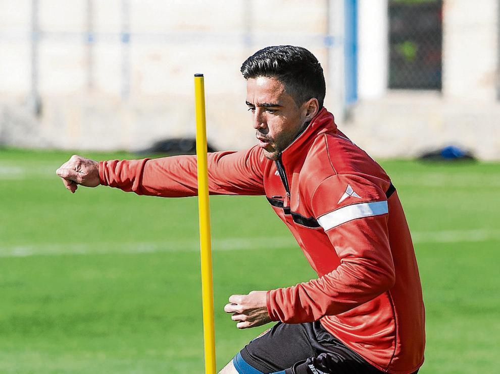 Pedro, en un entrenamiento del Real Zaragoza.