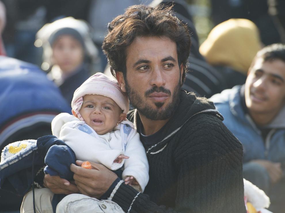 Refugiados en la frontera de Alemania y Austria.