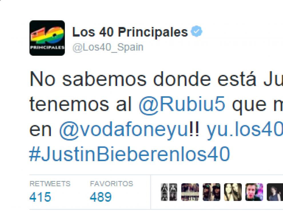 Un tuit de Los 40 principales tras el plantón de Bieber.