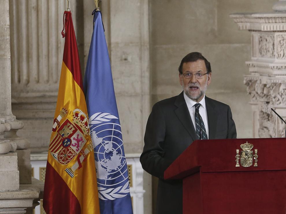 Mariano Rajoy, durante su intervención en el acto del 70 aniversario de la Carta de las Naciones Unida.