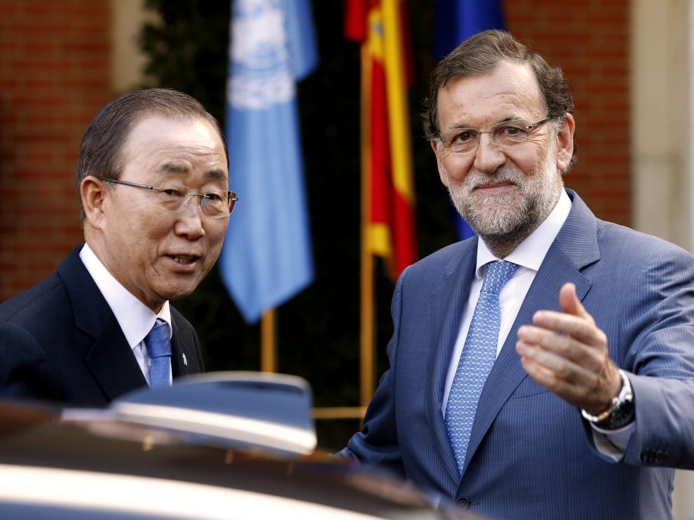 Rajoy durante la recepción de Ban Ki-moon.