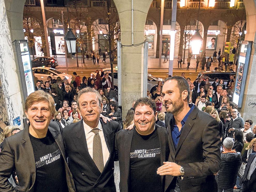 Gaizka Urresti, Luis Varela, Jorge Asín y Nacho Rubio, anoche en el estreno en los Palafox.