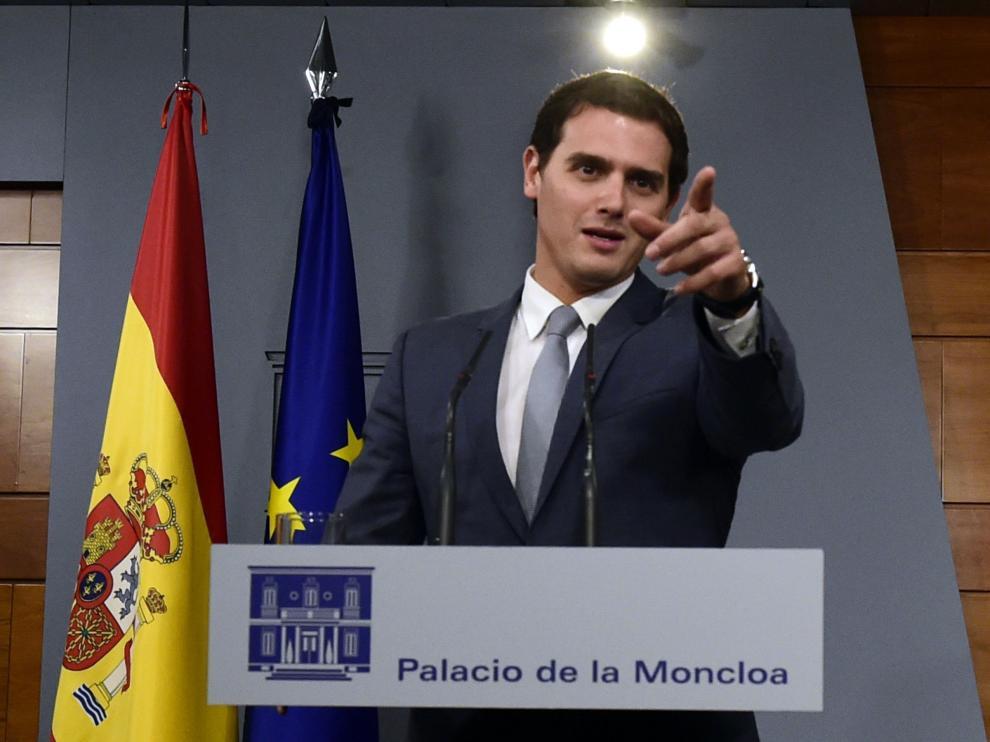 Albert Rivera, en Moncloa tras reunirse con Rajoy