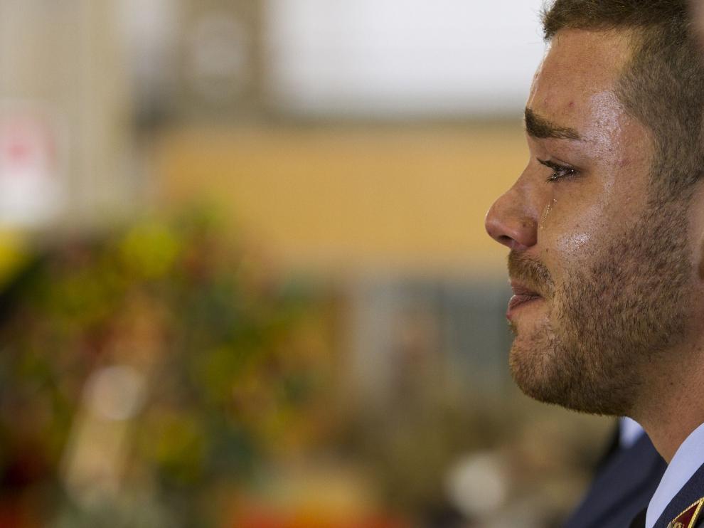 Johander Ojeda en el funeral por sus cuatro compañeros el año pasado.