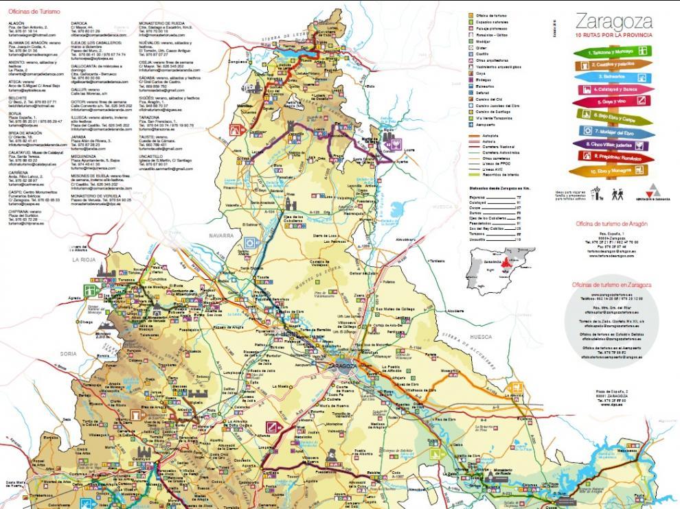 Mapa turístico publicado por la DPZ.