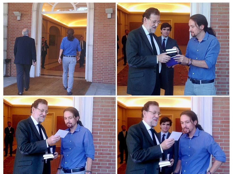 Combo de fotografías facilitadas por Podemos de su líder, Pablo Iglesias (d), entregando al presidente del Gobierno, Mariano Rajoy (i), tres libros, uno de ellos Juan de Mairena, de Antonio Machado