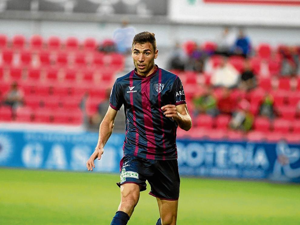 David Morillas durante un partido de esta temporada con la SD Huesca.
