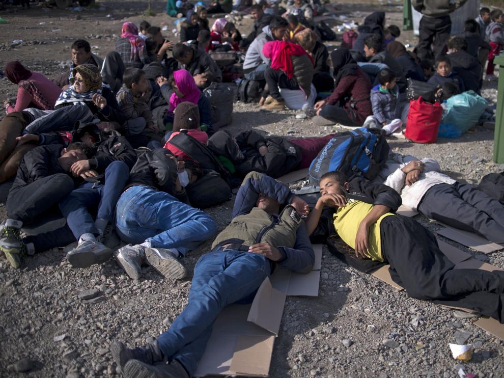 Imagen de archivo de refugiados sirios.