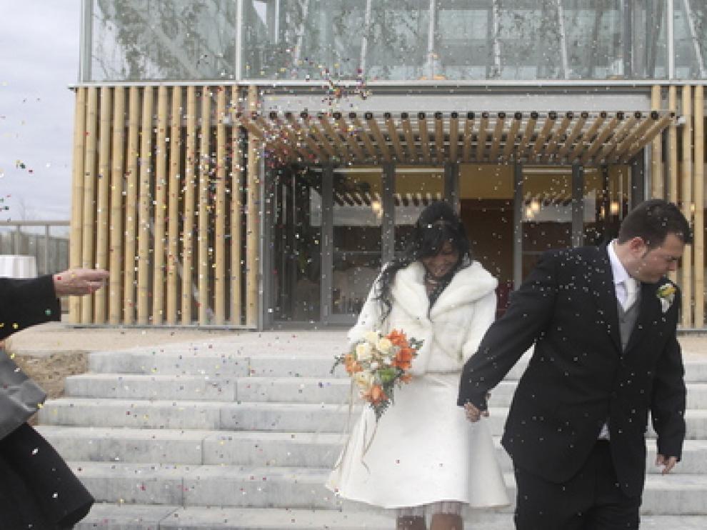Una de las primeras bodas realizadas en el Parque del Agua.