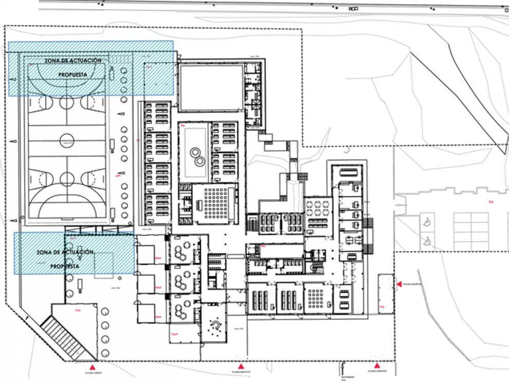 Zonas de actuación propuestas por la Consejería de Educación para la ampliación del colegio de Golmayo.