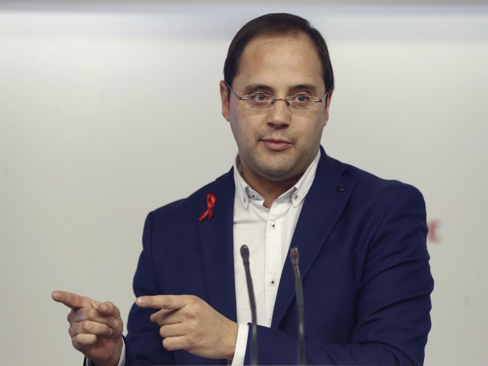 César Luena, en la presentación ayer en Madrid de la campaña electoral del PSOE.