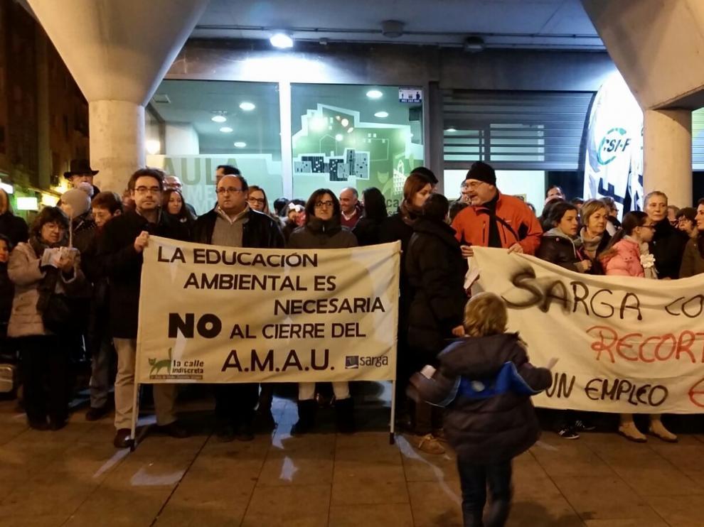 Concentración de los trabajadores de Sarga en Zaragoza.