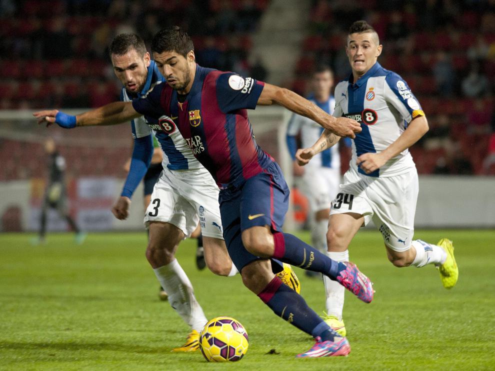 Luis Suárez, en un derbi entre el Barça y el Espanyol