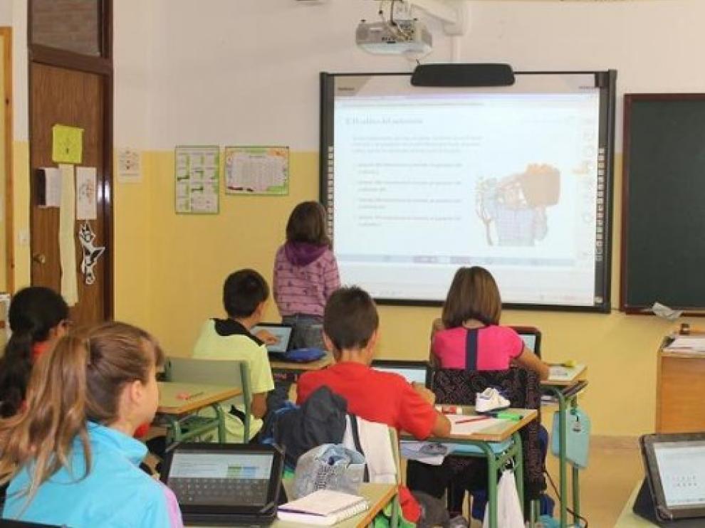 Clase de Primaria en un colegio aragonés.