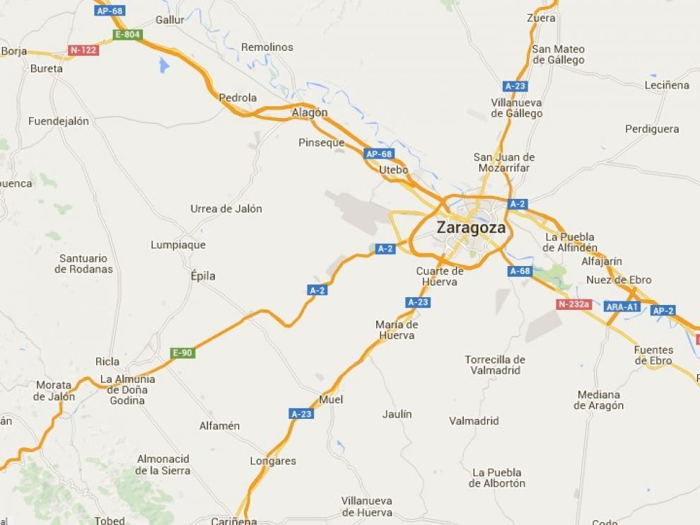 Carreteras de Zaragoza en un mapa de la DGT.