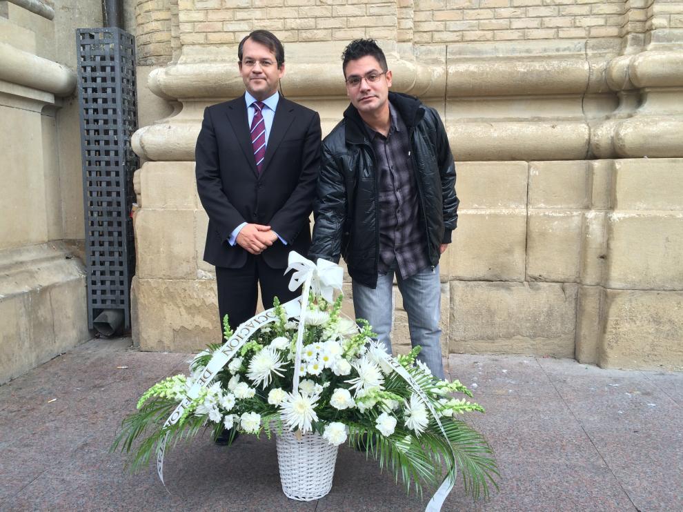 José Antonio Pueyo, presidente de ECOS, y Rubén Cebollero, presidente de la Asociación de Floristas de Aragón.