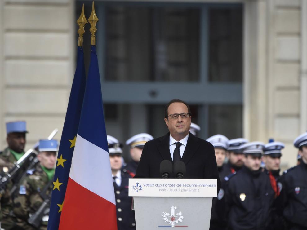 Hollande durante el homenaje a las víctimas del terrorismo.