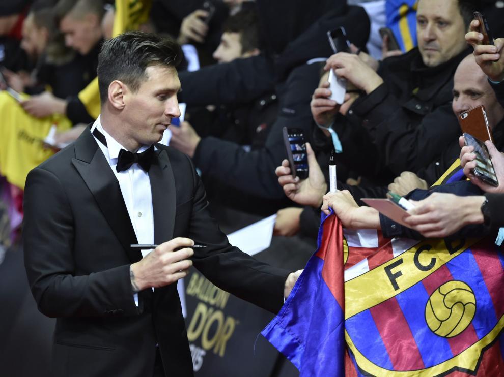 Leo Messi a su llegada a la entrega de premios del Balón de Oro 2015