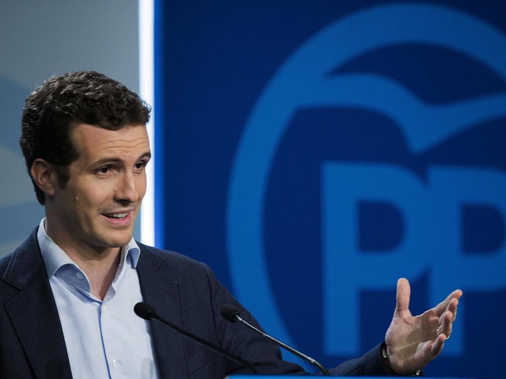 Pablo Casado, durante la rueda de prensa